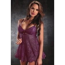 Babydoll Sexy Lingerie with Matching Thong - Maroon