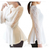 Peplum Top with Lace Sleeves