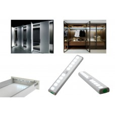 Motion Sensor Cabinet Wardrobe 10-LED Light Battery Powered PIR Lamp Cupboard