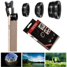 Universal 3 in 1 Clip on Mobile Phone Camera Lens Kit Wide Angle Fish Eye Macro
